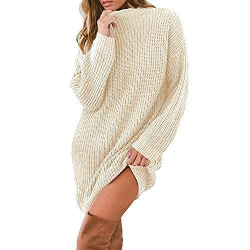 Kasee Robe Femme Tricot Pull Col Roul/é Chic /à Manches Longues Hiver au Crayon Top Femme Elegant Hauts Basique sous-Mini-Robe Uni Pull-Over Tunique Moulante