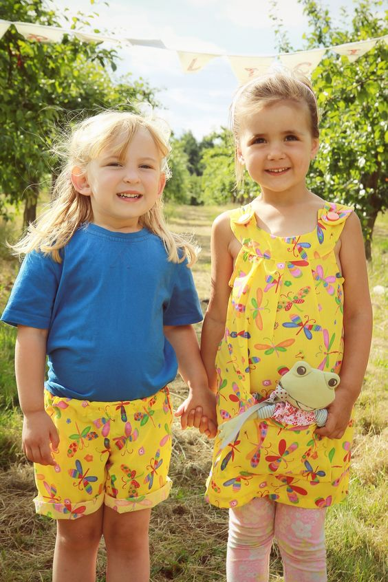 www.cordelicious.org @cordelicious Dragonfly shorts and dress in yellow with matching toy dress #matching #dragonfly