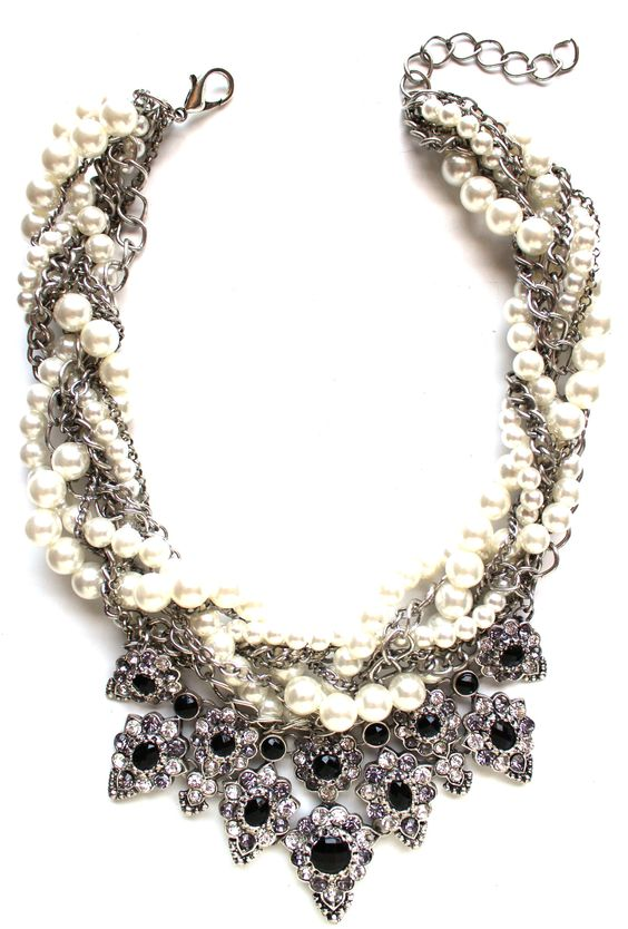 Luxe Pearls & Chains Crystal Statement Necklace