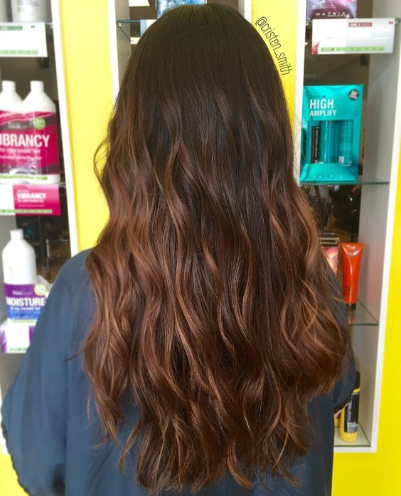 Chocolate caramel balayage ombre hair waves beauty