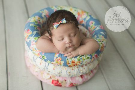Cesto de tecido rosquinha floral V - Loveprop | Newborn Props para Fotografia
