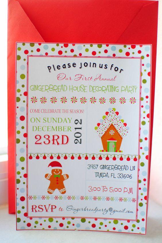 Christmas Holiday Gingerbread House Birthday Party Invitation – Gingerbread Party Invitations