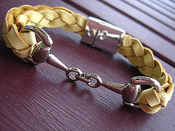 Thick Braided Natural Buckskin Leather Bracelet with Silver Equestrian Snaffle Bit and Silver Plated Magnetic Clasp