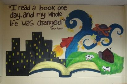 Elementary library decoration themes library mural by for Elementary school mural ideas
