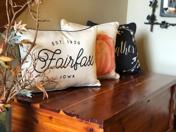 Your Favorite Town Pillow and Fall Pillows to Spruce Up Your Front Entry.