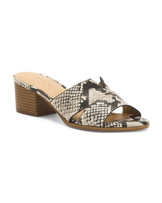 Heeled Snake Slide Sandals   Women's