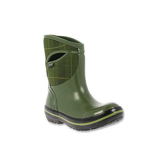 Bogs Footwear Women's Plimsoll Prince of Wales Mid Boots (188 CAD) ❤ liked on Polyvore featuring shoes, boots, olive, lined rubber boots, slip on ankle boots, slip on boots, pull on boots and stretch boots