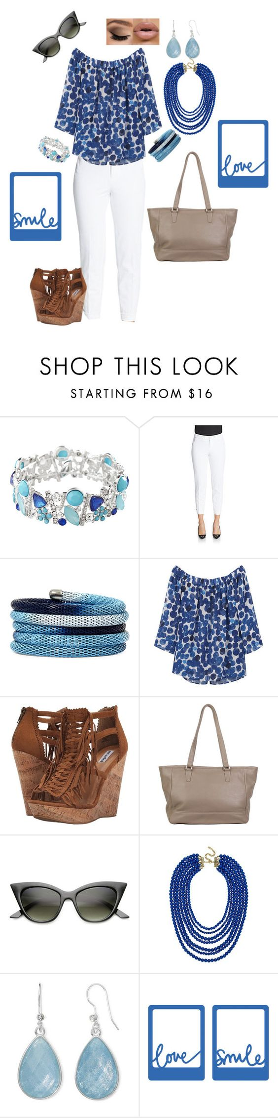 """Not feeling blue"" by angie-ryherd-brown on Polyvore featuring Avenue, Saks Fifth Avenue, Nicole By Nicole Miller, MANGO, Not Rated, BaubleBar and Liz Claiborne"