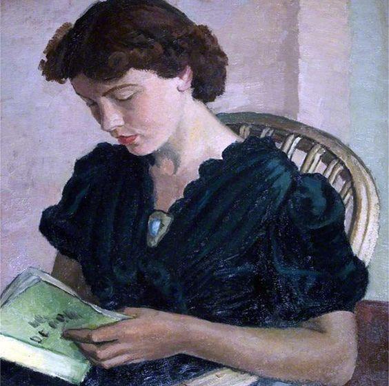"""Girl Reading"" di Vera Alabaster (Russia 1889 - 1964). Olio su tela, 62 x 56 cm. Harbour Cottage Gallery, Kirkcudbright, Scozia"
