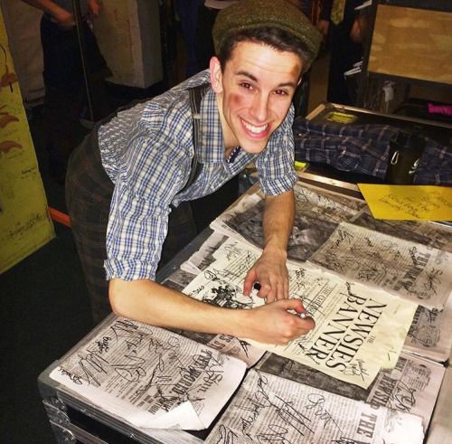 Chaz Wolcott signing papes backstage at the Fox Theatre in Saint Louis #newsiesontour