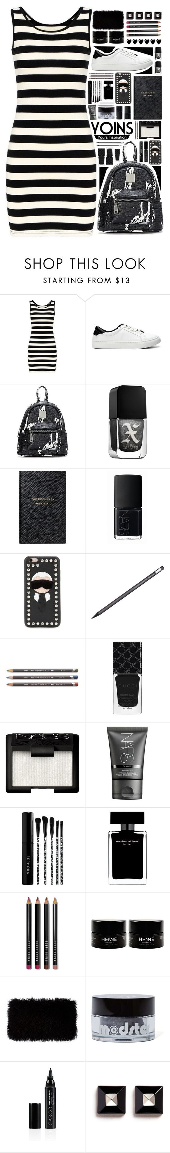 """""""YOINS #3"""" by arierrefatir ❤ liked on Polyvore featuring Formula X, Smythson, NARS Cosmetics, Fendi, Gucci, Sephora Collection, Narciso Rodriguez, Bobbi Brown Cosmetics, Donna Karan and Ardency Inn"""