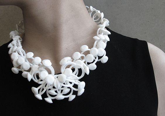 Hidden Moments - decorative, sculptural necklace using nylon, resin & silver - created by Kuntee Sirikrai #art #newdesigners