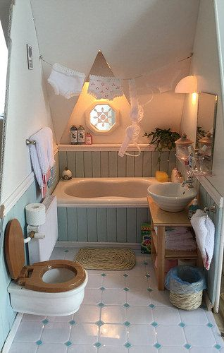 Miniature Attic Bathroom. …