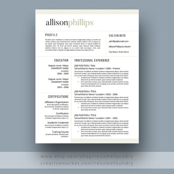 Teacher Resume Template 1, 2, 3 Page Education Assistant - teaching resume templates for microsoft word