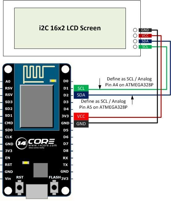 Wiring Nodemcu Esp8266 12e With I2c 16 2 Lcd Screen Arduino Arduino Lcd Arduino Projects