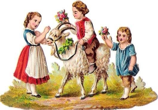 Oblaten Glanzbild scrap diecut chromo Kind child Ziege goat riding girl spielen: