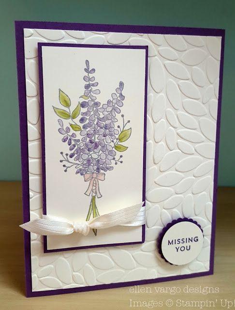Ellen Vargo Designs Lots Of Lavender Card With Blender Pens Stampinup Handmade Handmadecards Diy Wate Embossed Cards Floral Cards Greeting Cards Handmade