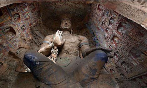 A statue of the Buddha in the Yungang Grottoes
