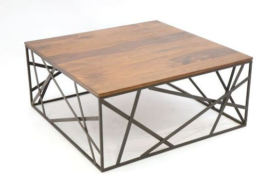 773400 table basse metal fer forge et bois 90x90cm wood for Table basse bois fer forge