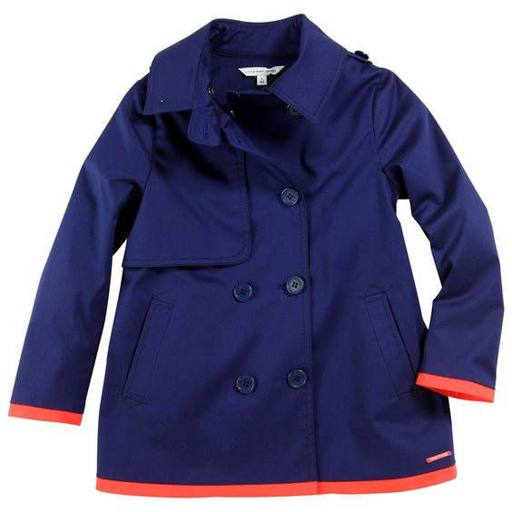 Marc Jacobs: Navy blue trenchcoat made of gabardine. Bright red percale lining. Double buttoning on the front. Side pockets. Contrast bright red trims at the cuffs and at the bottom. LMJ metal plate on the front. MINI-ME style, inspired from adult.