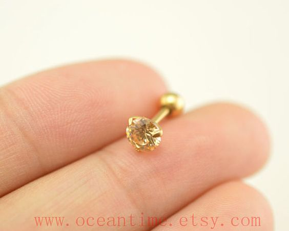 Tragus Earring Jewelryyellow diamond barbell piercing by OceanTime, $5.59