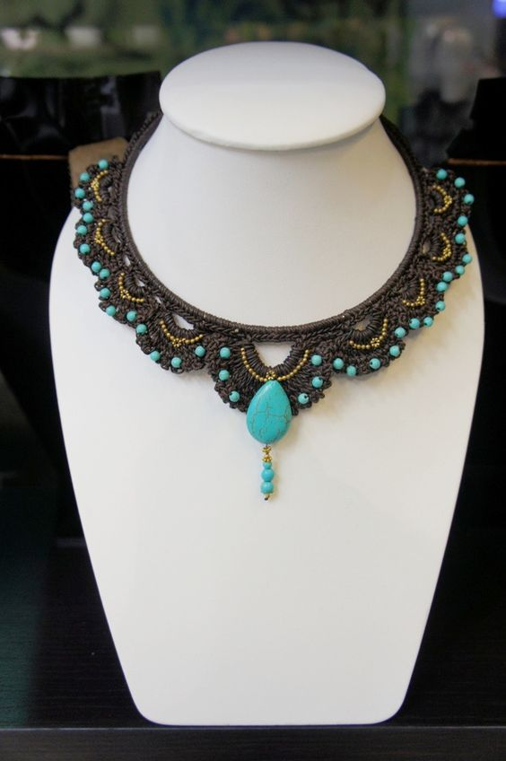 Crochet cotton wax necklace decorated with Blue howlite turquoise and brass bead