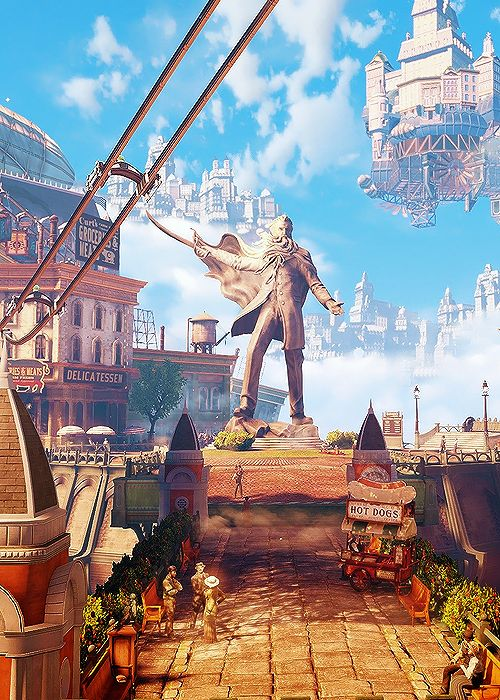 #bioshock infinite. Beautiful aesthetics. A bit overloaded enviroments. Interesting ending and thrill. Hate game mechanics of space-time portals and combination of superpowers with fake steampunk guns ( I hate steampunk incongruences.. Or.. Steampunk itself) Another crazy-leader of fanatics who wants to kill you. Didn't fully liked, but it's a good game.
