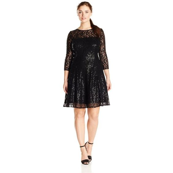 S.L. Fashions Women's Plus-Size Long Sleeve Lace Party Dress ($98) ❤ liked on Polyvore featuring dresses, plus size, lace cocktail dress, plus size long sleeve cocktail dresses, lacy dress, women's plus size dresses and plus size cocktail dresses