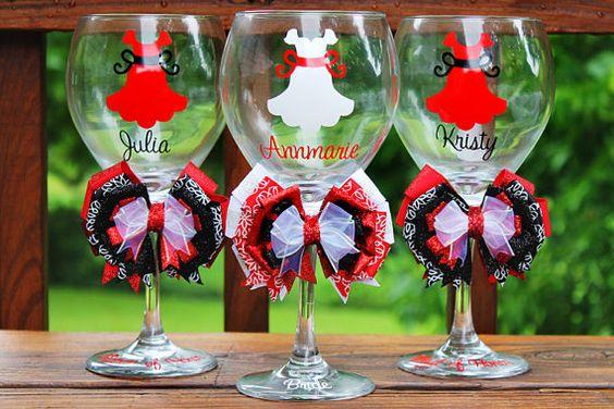 Set of 3 Personalized Bridesmaid Dress Wine Glass Wedding Bridal Shower Date Monogram Bow Bride Groom Groomsman Bachelorette Wine Glass Gift
