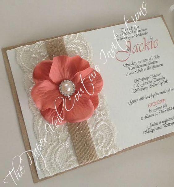 Rustic Vintage Garden Lace Collection Invitation Burlap Kraft – Wedding Invitations Coral