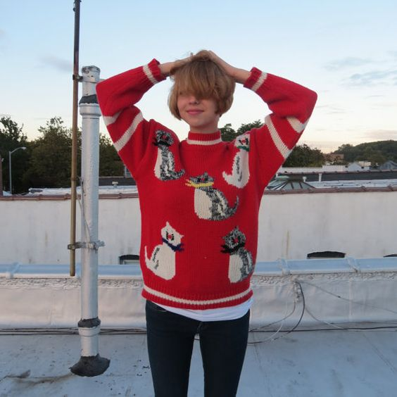 Vintage Red and Cream Ugly Cat Sweater Size M by ModernSkeptic, $80.00