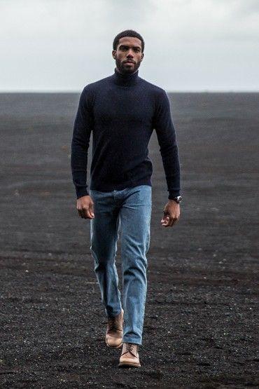 Pull col roulé navy en laine mérinos et cachemire homme BonneGueule
