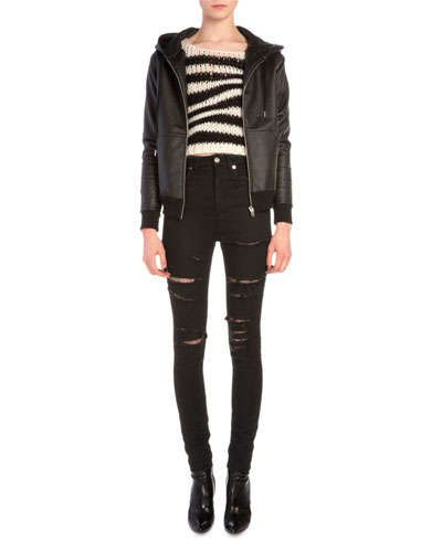 Saint Laurent Waxed Jersey Zip Hoodie, Wavy Striped Chain Knit Sweater & Fishnet-Inset Distressed High-Waist Jeans Fall 2015