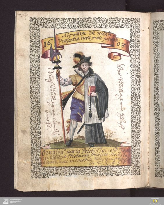 """the bifid priest/soldier but dated 1603, 5 years before the """"Pugillus Facetiarum"""" first appeared. This f145v of the Johannes Gotz album, Stuttgart, WLB, cod. hist 8o 297 via the WLB site REPINNED TO MY NEW """"BIFIDITY"""" BOARD!"""