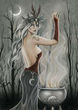Cerridwen was worshipped by the ancient Celts as a Goddess of knowledge, the underworld and the waning moon, and was said to possess a magickal cauldron, filled with the secrets of life itself. Shown here with flowing white hair that represents her Crone aspect, Cerridwen stands stirring her cauldron, surrounded by magickal vapors that drift into the winter forest.:
