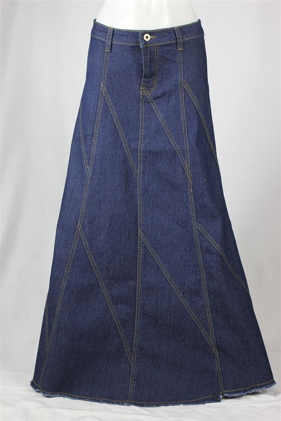 Flared Lines Dark Indigo Long Jean Skirt, Sizes 6-18: theskirtoutlet.com