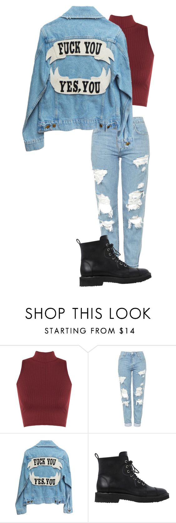 """""""F*ck you! Yes you!"""" by cittie ❤ liked on Polyvore featuring WearAll, Topshop and Giuseppe Zanotti"""