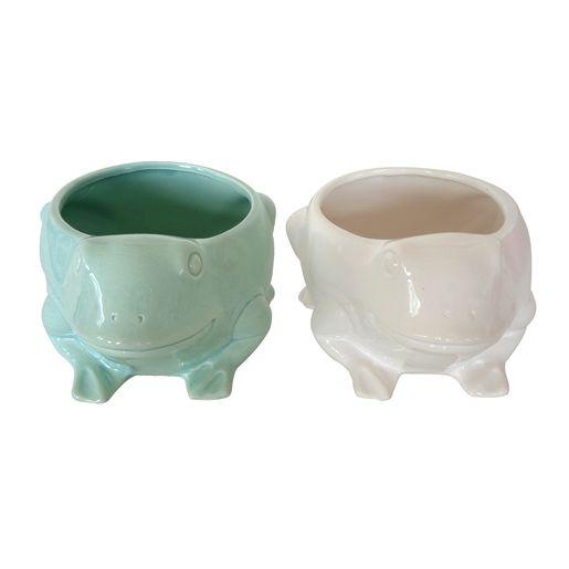 Ces Pots Grenouille En Ceramique Sont Presque Aussi Superbes Que Les Fleurs Et Aromates Qu Ils Sont Destines A Accueillir Une Dec Pots Ceramique Je M En Fous