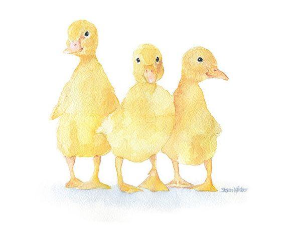 Three Ducklings Watercolor Painting Fine Art Print by SusanWindsor, $18.00