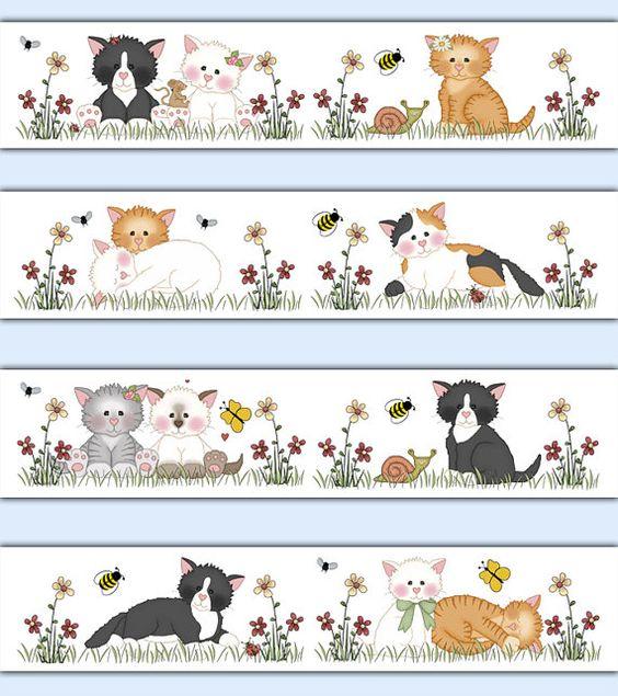 cat wallpaper border decal baby girl nursery barnyard farm animal stickers kids room childrens bedroom kitten kitty bee wall art decor baby nursery cool bee animal