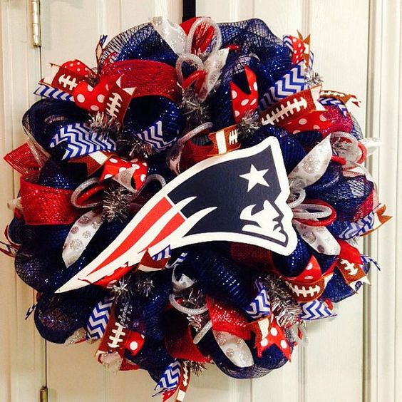 New England Patriots Deco Mesh Wreath by BeccasFrontDoorDecor