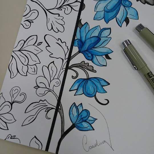 Flores em ecoline e nanquim