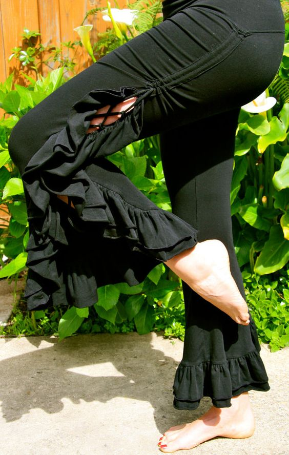 Tribal Bellydance Ruffle PantsBlack by EmbodhiDesigns on Etsy, $90.00