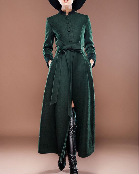 Stand Collar Royal Blue Cashmere Wool Coat with Lace Details