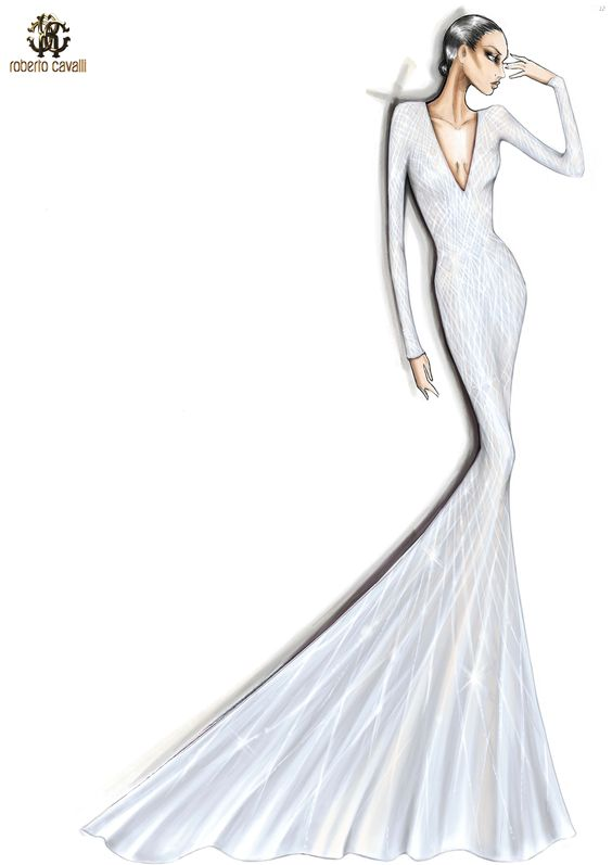 Here's the sketch of the ivory #RobertoCavalliAtelier embellished gown worn by Lady Gaga in London!