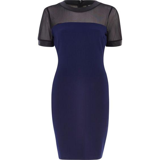 Navy mesh yoke bodycon dress - bodycon dresses - dresses - women