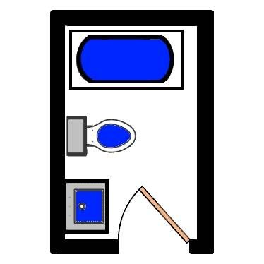 basic 40 sq ft floorplan for small bathroom
