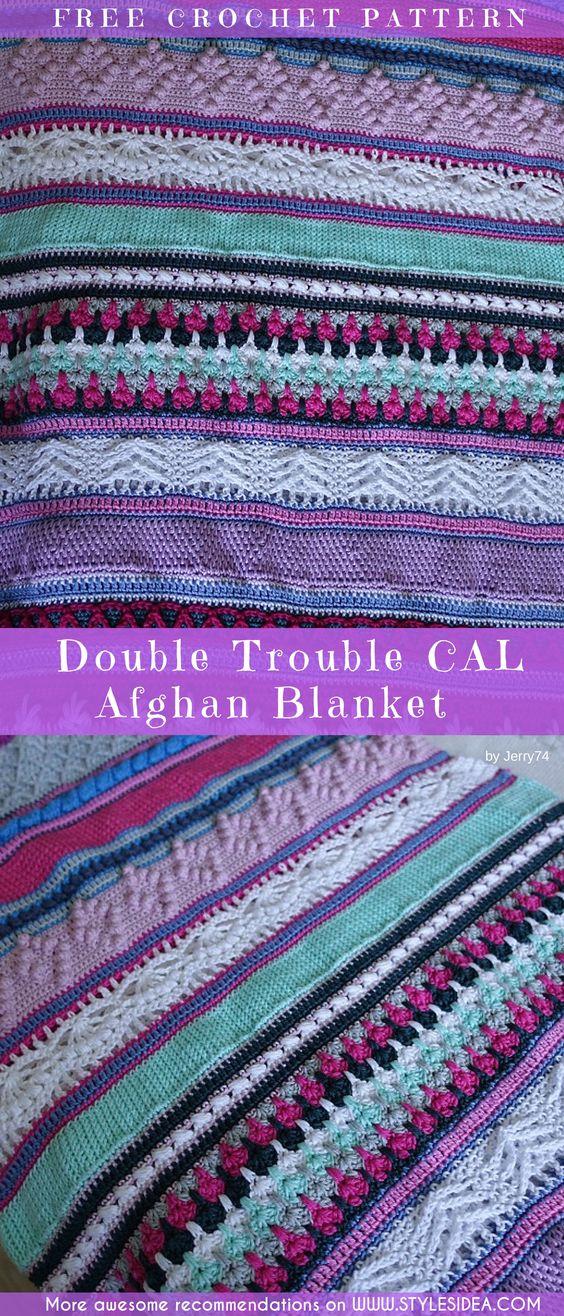 Double Trouble CAL Afghan Blanket Free Crochet Pattern #freecrochetpattern #crochetafghan #DoubleTroubleCAL #crochetCAL