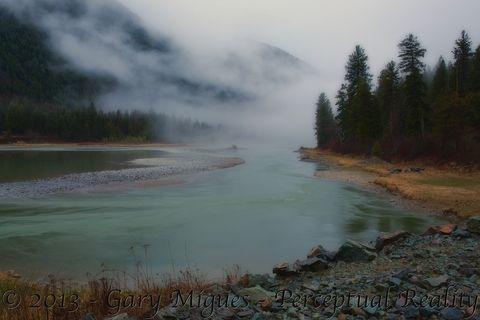 Kootenai River outside Libby, Montana on a misty April morning.