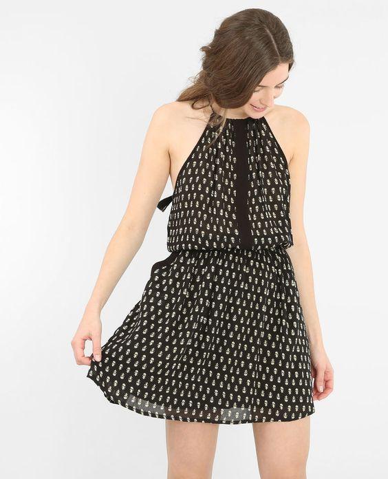 Bedrucktes Kleid aus Krepp Schwarz